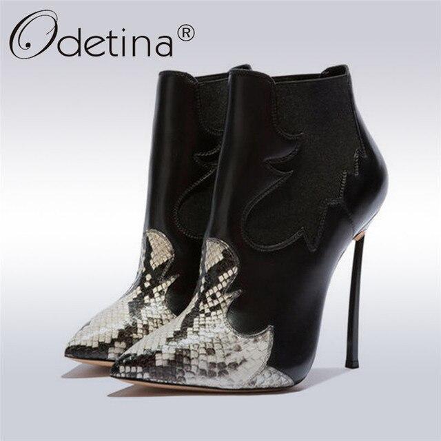 Odetina Sonbahar Kış Bayan Yılan Derisi Aşırı Ince Yüksek Topuklu Kadın Chelsea Çizmeler Sivri Burun bileğe kadar bot Elbise Ayakkabı Büyük Boy 43