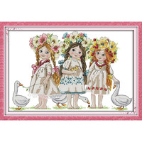 Young Girls Kid Angel Baby Decor Paintings Counted Printed On Canvas DMC 14CT 11CT Cross Stitch