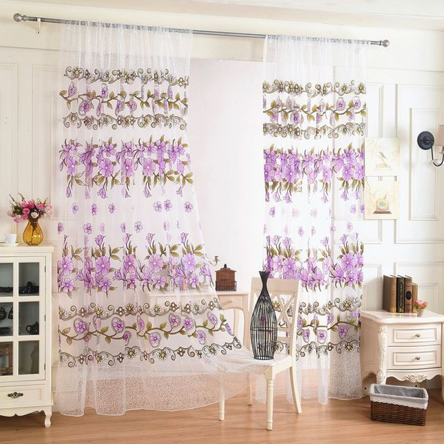2017 1PCS/Lot Window Curtain Fabric Floral Transparent Burnout ...