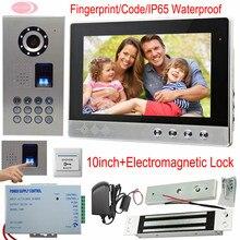 Video Intercom System Fingerprint/Code Unlock 10-inch Screen Video Doorphone Intercom Camera IP65 Waterproof Magnetic Door Lock