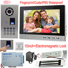 Video Intercom System Fingerprint/Code Unlock 10-inch Screen Video Doorphone Intercom Camera IP65 Waterproof Magnetic Door Lock