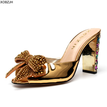 купить High Heels Summer Sandals Women Shoes 2019 Women wedding Luxury Brand Designer Crystal Heel Black Sandals Ladies Shoes Woman по цене 7919.53 рублей