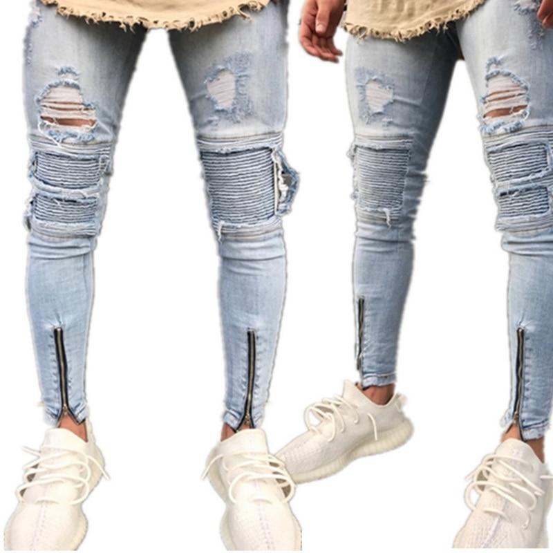 MoneRffi Men Clothes 2019 Hip Hop Sweatpants Skinny Motorcycle Denim Pants Zipper Designer Black Jeans Men Casual Jeans Trousers(China)