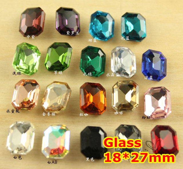 72Pcs 18*27mm Rectangle Octagon Crystal Fancy Stone Pointback Glass Foiled For Jewelry Making,Garment Use,weeding dress stones