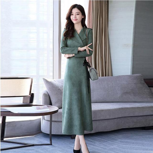 New Brand Autumn Winter Long Dress Korea Style Long Sleeve Dresses