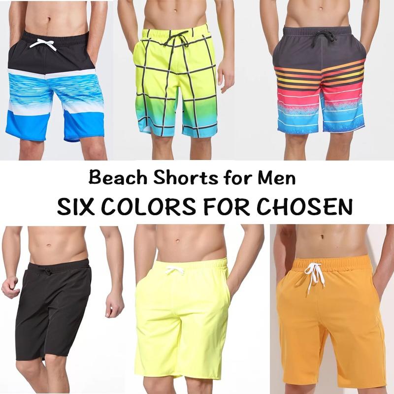 Beach-Shorts Swimwear Surfboard-Pants Print Men for Green Surfing Six-Colors
