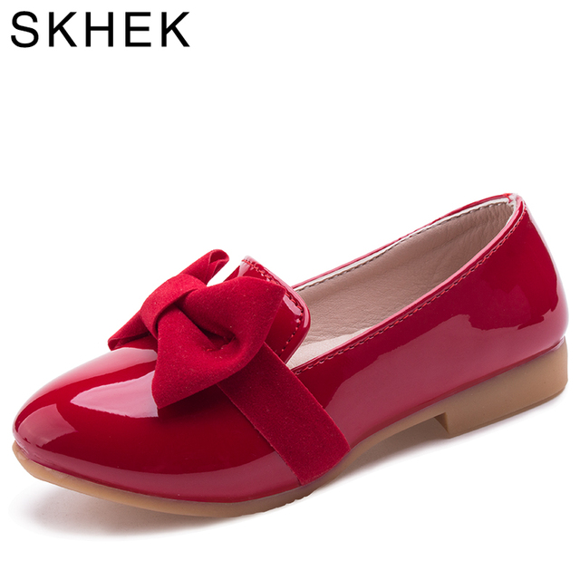 SKHEK ילדי נעלי אביב סתיו בנות נעלי מוקסינים לילדים להחליק על עור מפוצל שחור אדום ילדים נעליים יומיומיות A-10