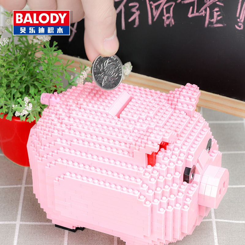 Novo-Modelo-Piggy-Bank-Money-Box-3D-Balody-16117-Porco-Cor-de-Rosa-1030-pcs-Diamante