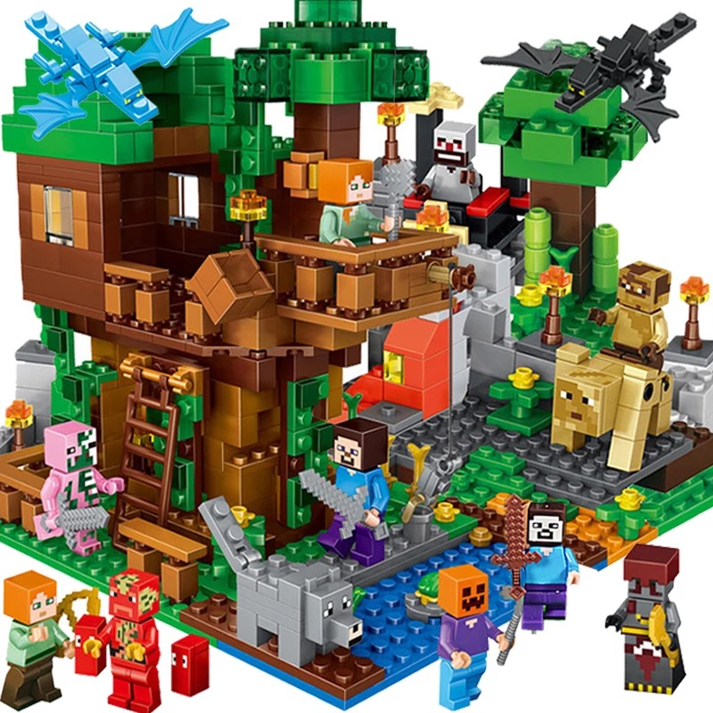 купить My World Mechanism Cave Building Blocks Compatible Lego IN Minecraft Animal Alex action figures bricks toys for children недорого
