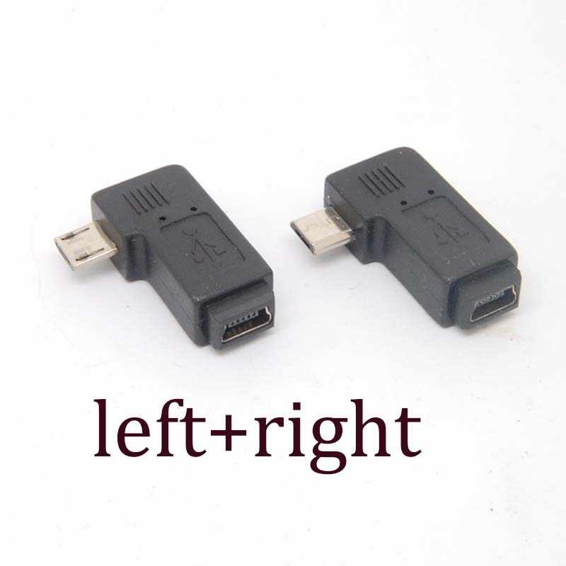 90 Degree left+right Angle Adapter micro USB Type A B male to mini USB feMale NEW