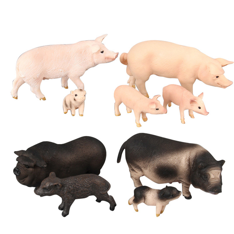9 Kinds Simulation Pig Animal Figure Collectible Toys Cute Pig Animal Action Figures Kids Small Size Plastic Cement Toys