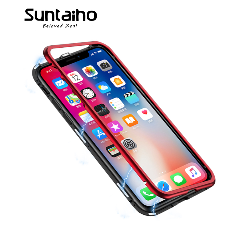 Suntaiho Magnetic Case for iPhone X Magnetic Adsorption for iPhone 7 Magnet Case for iPhone 8 Plus Tempered Glass Metal Cover