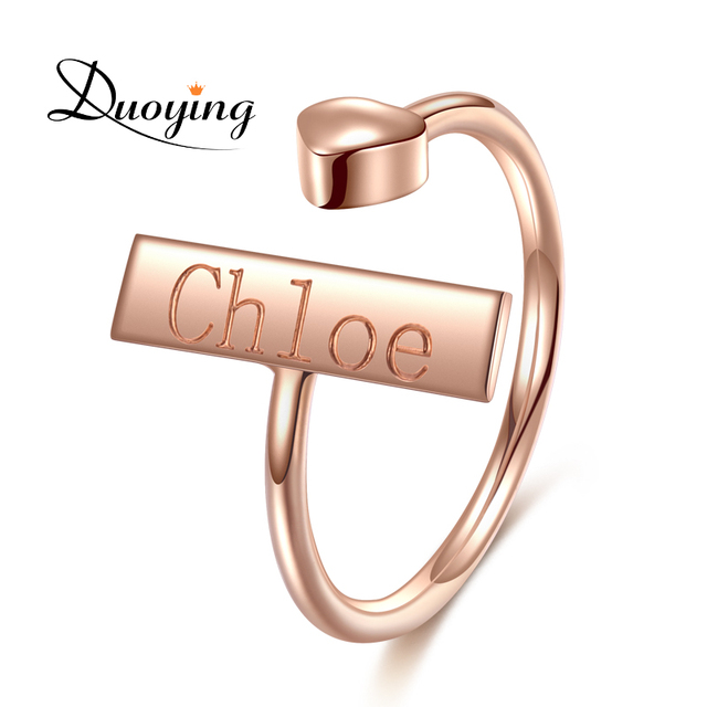 DUOYING Infinity Metal Ring Rose Gold Love Heart Adjustable Custom Engrave Monog