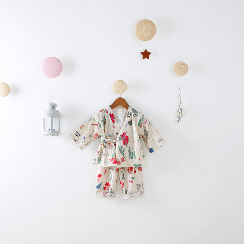 Spring 2017 New Children Wear Kimono Pajamas Baby Girls Japanese Home Furnishing Suit Kids Floral Nine Sleeves Clothing Sets 2015 new arrive super league christmas outfit pajamas for boys kids children suit st 004
