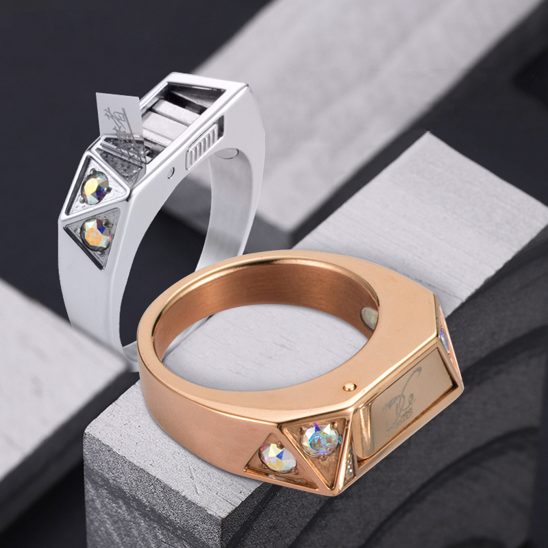 Women Men Safety Survival Ring Tool EDC Self Defence Titanium Steel Steel Ring Finger Defense Ring Tool