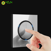 86 Industry EU 1 2 3 4 gang 1 2 way gray Tempered glass switch Light press Wall Switch With LED lights France Germany socket USB