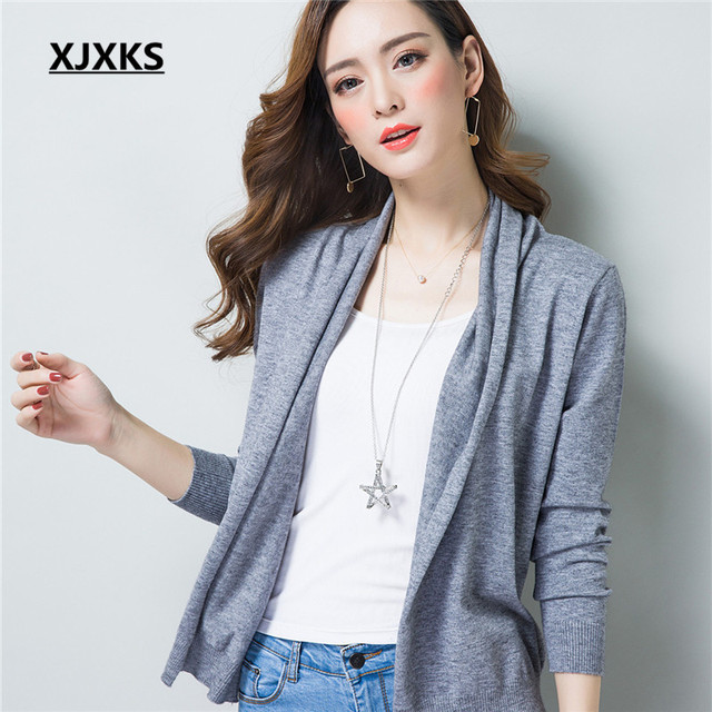 ff05c1696169 Spring New Womens 2017 Loose Sweater Cardigan Sweater Female Thin Coat  Summer Solid Color Open Stitch
