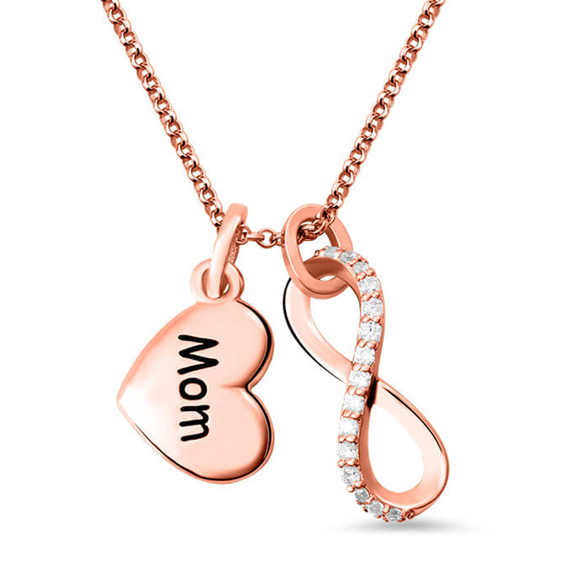 Women's Infinity Pendant Name Necklace Custom Letter Love Heart Charm Necklaces with Crystal Rose Gold Chain Gift for Mom Mother цены онлайн
