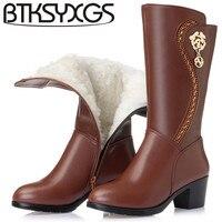 BTKSYXGS 2017 botas de la Mujer 100% Moda de invierno de cuero genuino Punta redonda de metal flores Gruesos calcetines de lana caliente botas de nieve de Las Mujeres zapatos