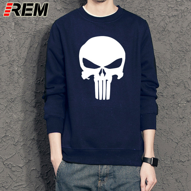 REM Punisher Sweatshirts Superhero Men Hoodies Long Sleeve Cotton O-neck Casual Sweatshirts