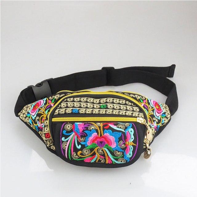 Новый Национальный Винтаж Этническая вышивка вышитые сумки холст рука талии пакеты путешествовать портативный сумки на ремне