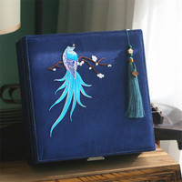 Beautiful Swallow Blue Bird of paradise Cardboard Storage Jewelry Box with Lock Cosmetic Box Large Storage Box Wedding Gift