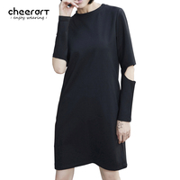2017 mùa xuân phụ nữ đen lỗ casual dress dài tay áo t shirt phím shift dress phong cách đường phố quần áo
