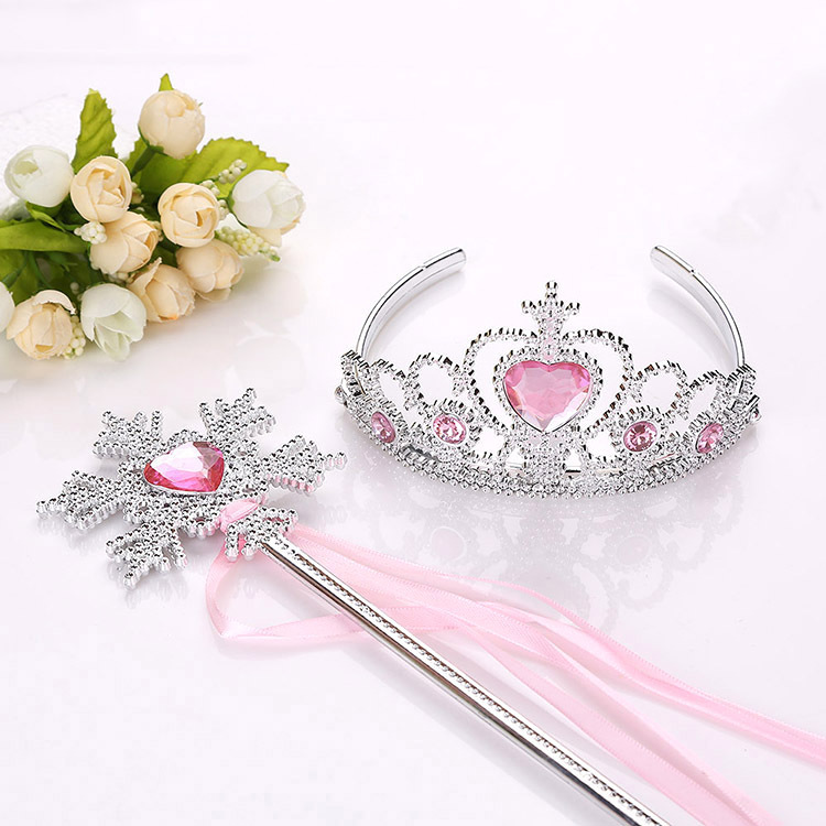 2019 NEW Spot Hot Crown Princess Hair Hoop Ice Colors Snowflakes Magic Wand Of Crown Point Drill Rod Children Suit
