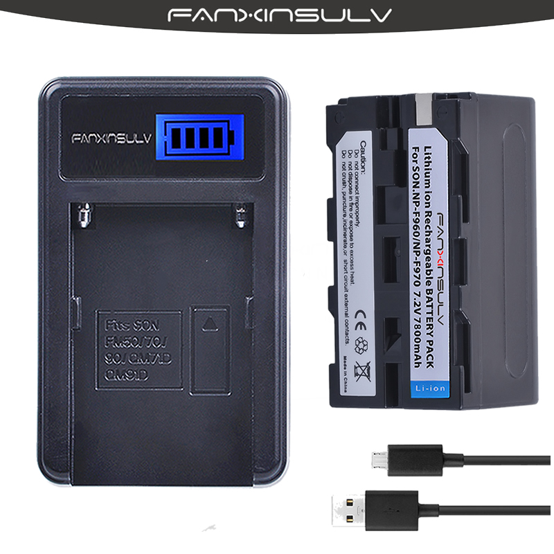 1x 7800mAh NP-F970 NP F970 F960 Battery + USB LCD Charger For sony HXR-NX3 dcrvx2100 hdrfx1 hdrfx7 hd1000u hvrz1u pm092 <font><b>mc2500</b></font> image
