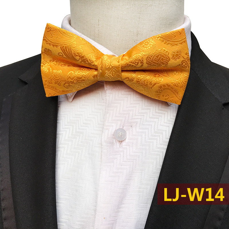 Gold Fashion Classic Paisley Floral Mens Pajaritas Fashion Bowtie Jacquard Bow Ties Leisure Solid Wedding Tuxedo Butterfly
