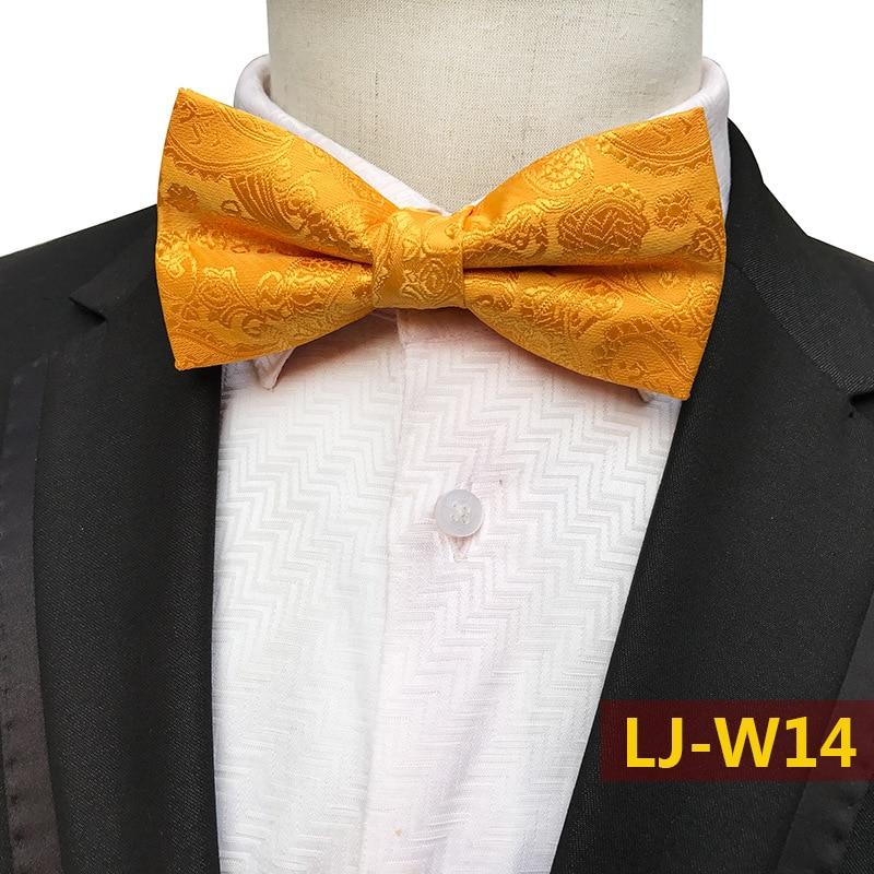 Gold Fashion Classic Paisley Floral Mens Pajaritas Fashion Bowtie Jacquard Bow Ties Leisure Solid Wedding Tuxedo Butterfly