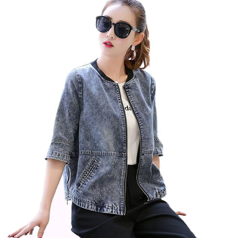 2019 Women   Basic     Jacket   Coat Side Zipper Washed Vintage Jeans   Jackets   Coats Female Summer Loose Oversized Denim   Jacket   HOT Y343