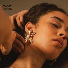 Tocona – boucles d'oreilles à grandes fleurs pour femmes, breloques élégantes, couleur or argent, alliage métallique, bijoux de fête, 3839