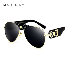 MAEDLINY 2017 NEW Oversized Women Sunglasses Brand Design Vintage Round Sun Glasses Coating Mirror Classic Men Shades UV MA162