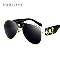 MAEDLINY 2017 NEW Oversized Women Sunglasses Brand Design Vintage Round Sun Glasses Coating Mirror Classic Men