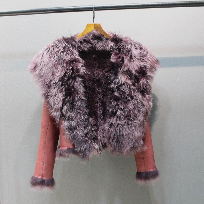 Senhoras genuína pele de carneiro couro e forro de pele de cordeiro jaqueta grande gola de pele das mulheres de espessura natural dentro da moda gola longo casaco