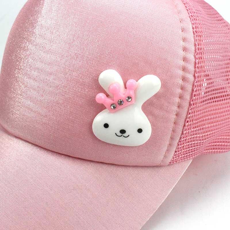Summer Sequin Cartoon Ear Cap Kids Snapback Baseball Cap Children Mesh Sun Hat