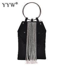 Bracelet Ring Handle Cocktail Party Wedding Clutch Crystal Rhinestone Tassel Tote Handbag Metal Mesh Evening Bag Wedding Handbag