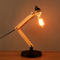 Loft Retro Study Decoration Wooden Table Lamp Creative Wood Bedroom Coffee Shop Table Lamp Bed Light Free Shipping