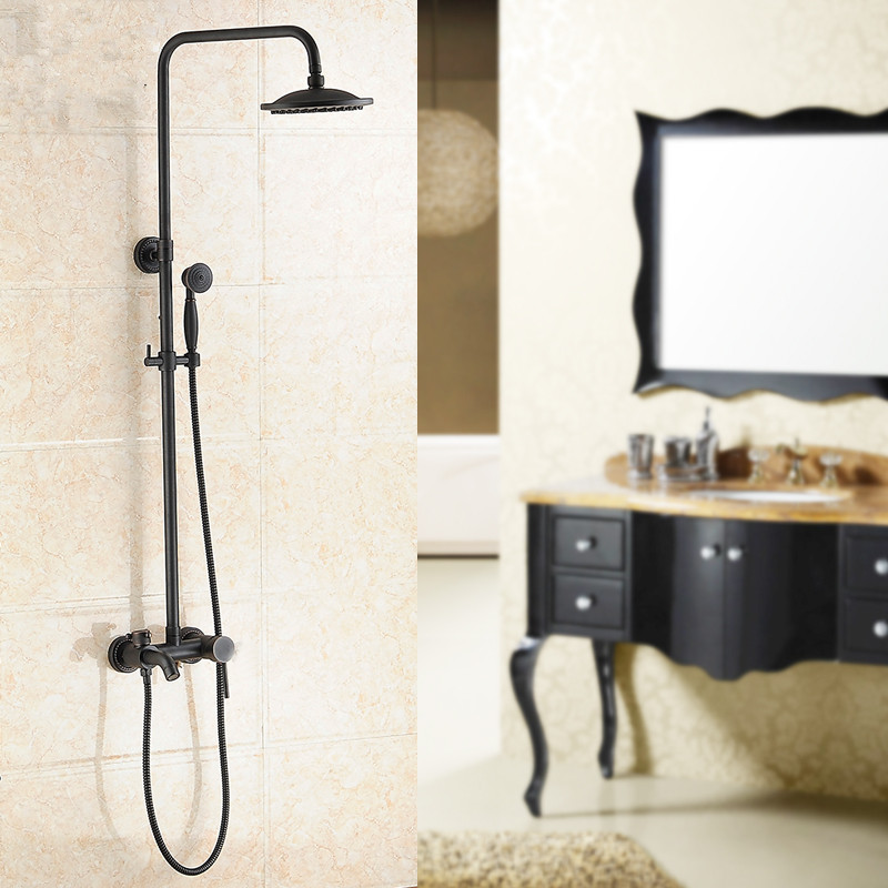Shower Set Brass Black Oil Shower Set With 8 Inch Shower Head Handheld Double Lifting Water Rain Shower Bathroom Accessories