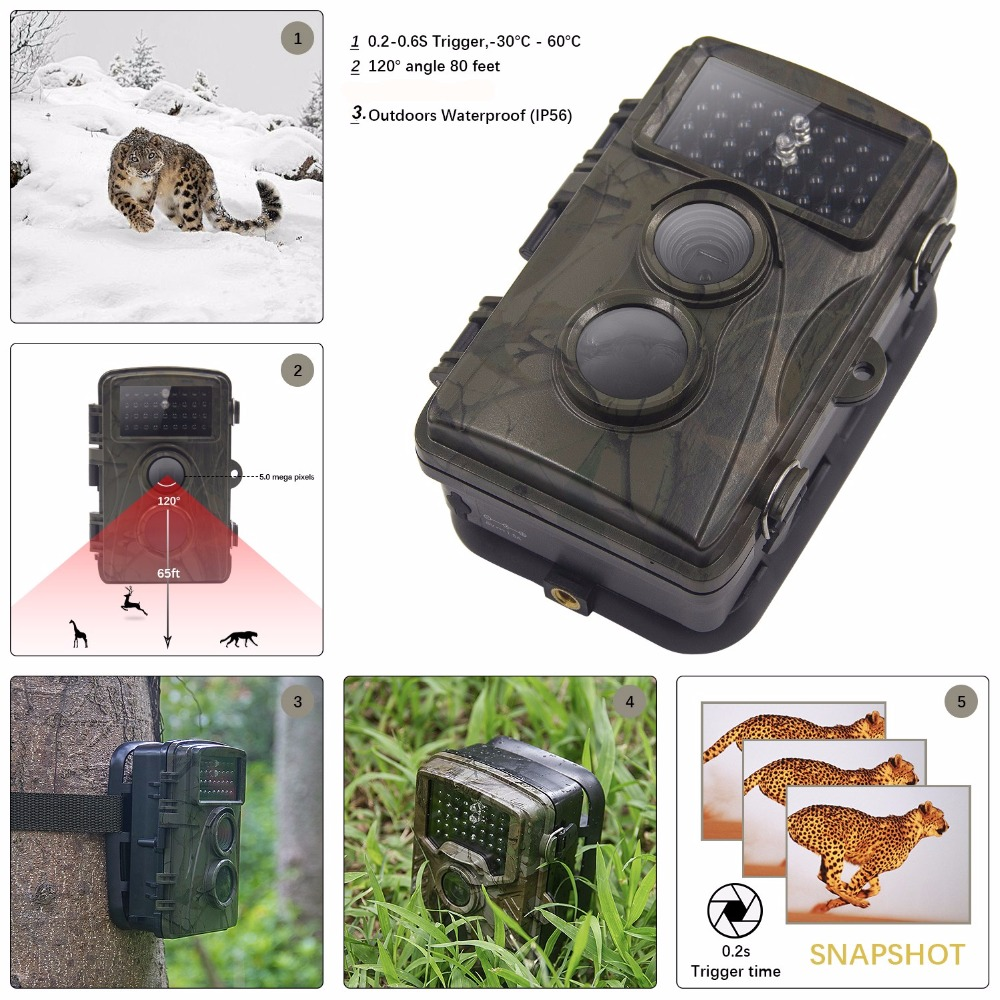 Hunting Trail Game Camera - Infrared Scouting Cameras 8MP 12MP 720P 1080P IP56 Waterproof hunter cam Night vision camera traps stylish metal nose bridge solid color cat eye sunglasses for women