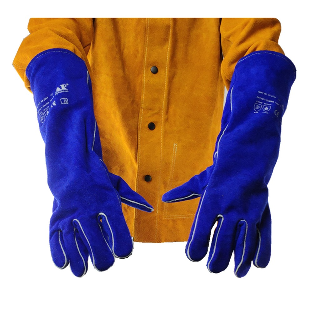 "AP-2054 Extra Long 18/"" Coffee /& Blue Select A Grade Split Cowhide Welding Gloves"