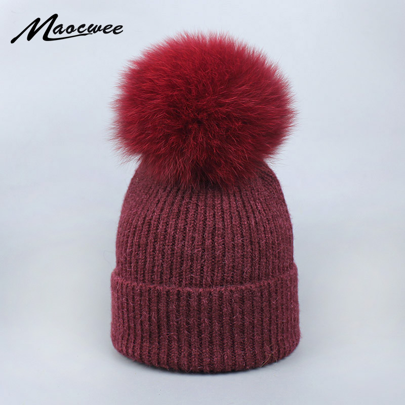 Natural Raccoon Fox Fur Pom Poms Hat Female Warm Women's Children Cap Knitted Girl Winter Thick Hats   Skullies     Beanies   0-3 years