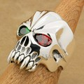 Brand LINSION Huge Heavy 925 Sterling Silver Green + Red CZ Eyes Skull Mens Biker Rocker Punk Ring 9M604 US Size 7~15