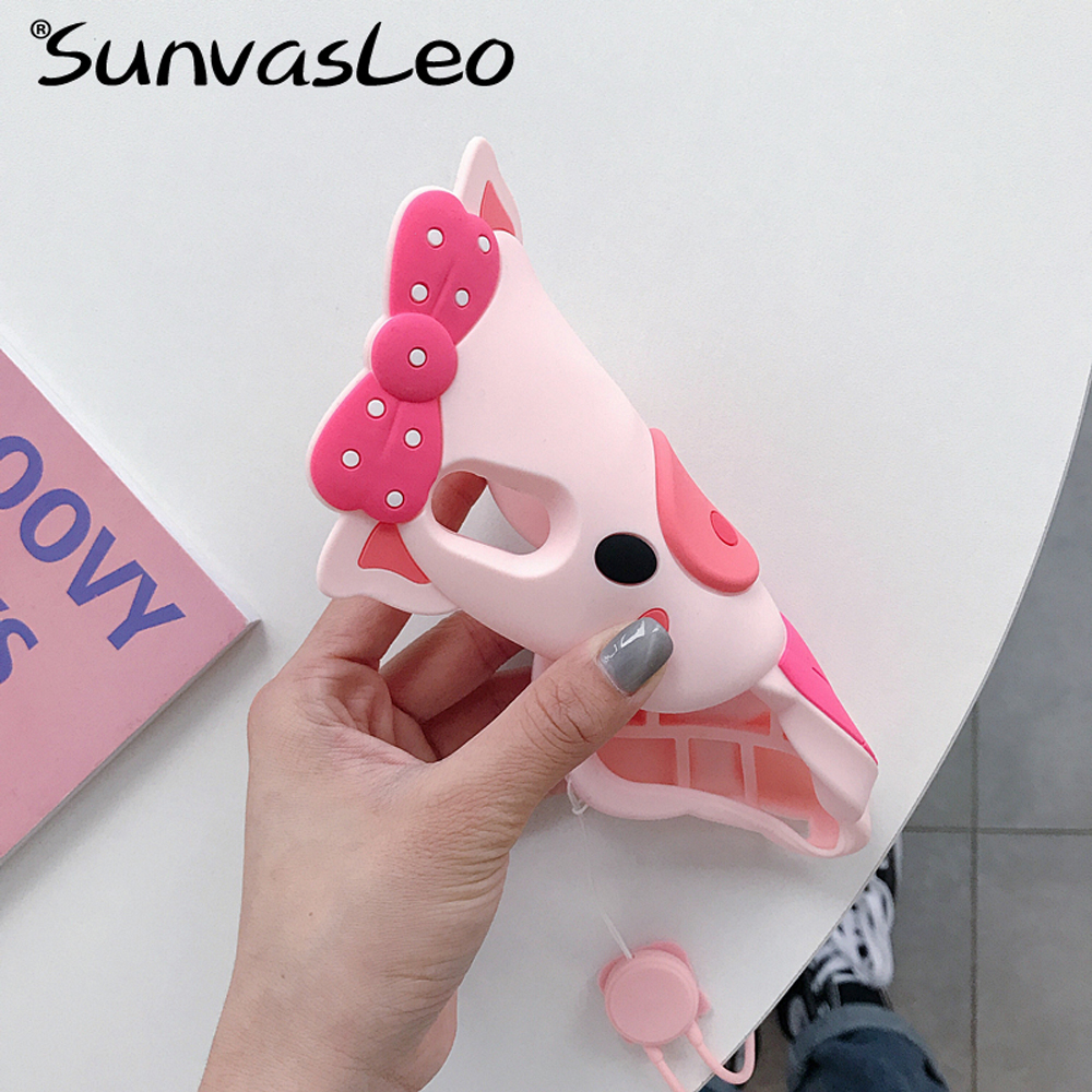 For iPhone 5 6 7 8 8Plus X XS XR XS Max 3D Cute Pig Cartoon Soft Silicone Case Phone Back Cover Shell Skin with Strap Anti-knock  - buy with discount
