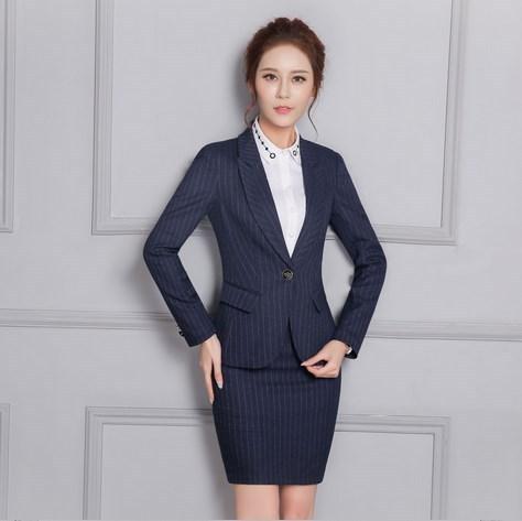 Profissionais Roupa de Trabalho 2 Peça Formal Desgaste Coreano Listrado Azul Blazer Com Saia/Calças Set Vestido de Senhora Do Escritório Uniforme ternos