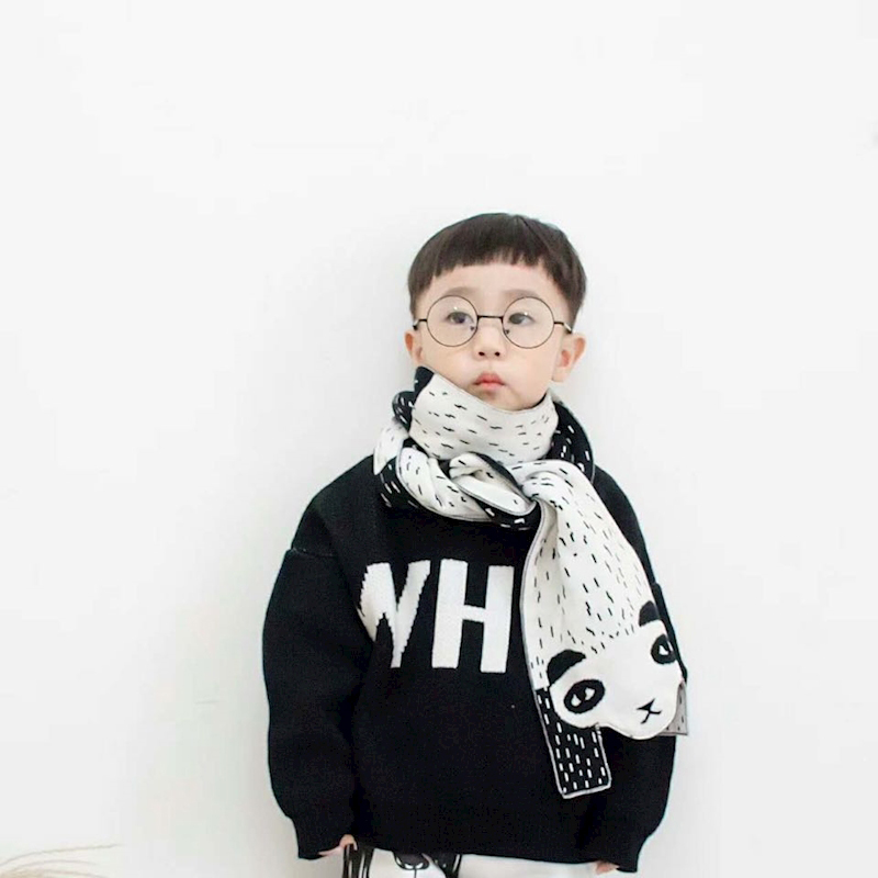 2019 cartoon bear scarf for kids knits winter warm. Black Bedroom Furniture Sets. Home Design Ideas
