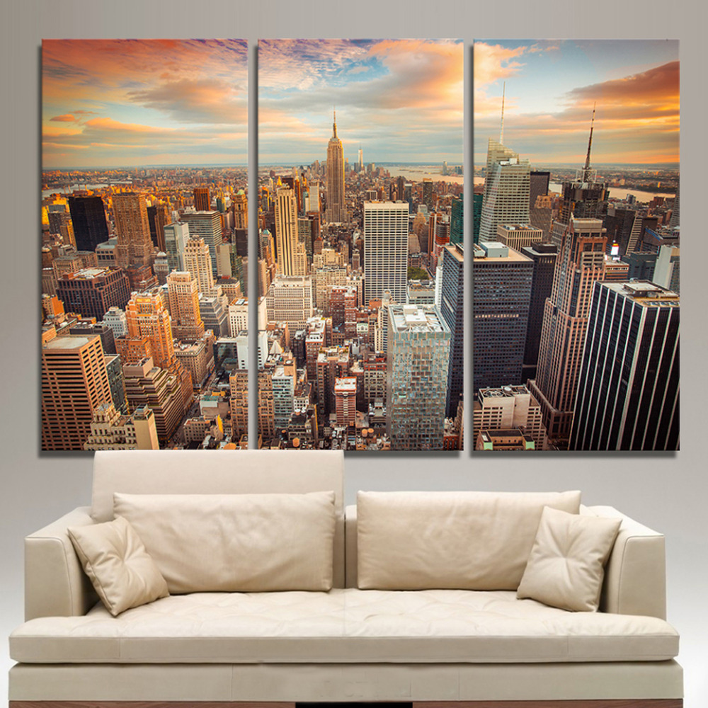 New York City Picture Canvas Painting Modern Wall Art: 3 Panels Canvas Print New York City Building Painting On
