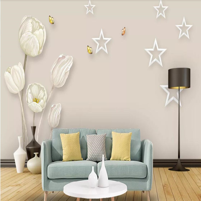 Factory direct modern minimalist tulip art TV background wall