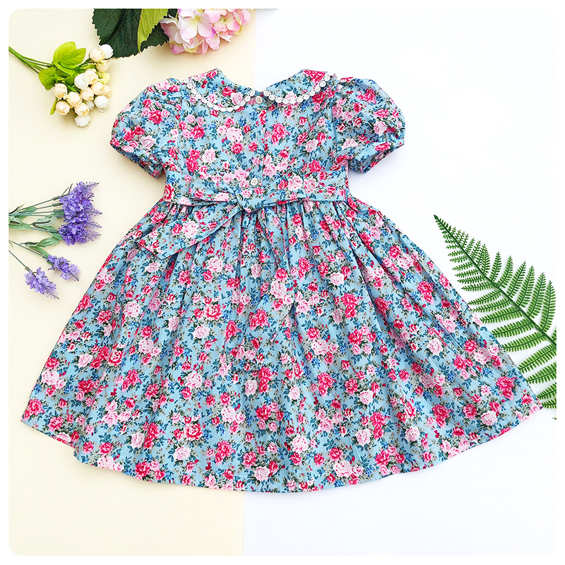 facdd2a900c41 Spring Summer 2019 Girls Smocking Embroidery Dresses Floral Prints Doll  Dress For kids Girl Princess Smocked Party